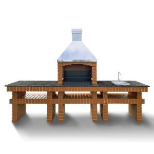Барбекю BRIСK XL + стол + мойка (большая жаровня на 14 шампуров)